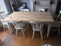 ANTIQUE PINE BUTCHERS BLOCK KITCHEN DINING TABLE & 6 CHAIRS FARMHOUSE 6FT X 3FT