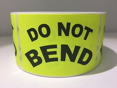 Do Not Bend Labels 2x 3 Yellow Fluorescent Color 250 New Shipping Labels