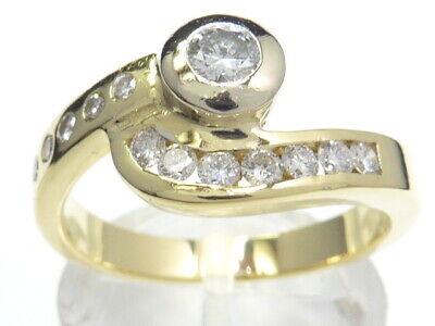 Ring 585 Gold Bague Or Brillant Diamant Diamond Anello Anillo Oro Art Deco 14kt Echtschmuck