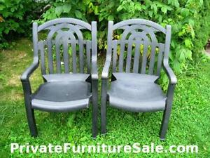 2 X-Large High Back wide seat Plastic Patio Chairs in good condi