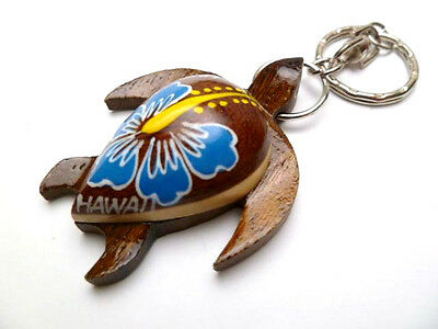 Hawaiian Souvenir Natural Wood Key Chain ~ Turtle #19138 (QTY 2)