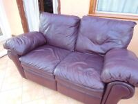 2 SEATER BURGUNDY LEATHER RECLINING SOFA - MANUAL RECLINERS