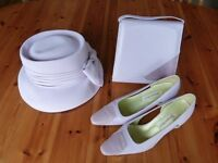 Wedding accessories, Jacques Vert matching hat, handbag and shoes size 6.