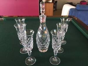 vintage crystal glass decanter and six Glasses. Lilydale Yarra Ranges Preview