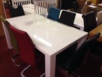 New Large White high shine large dining table & 6 chairs
