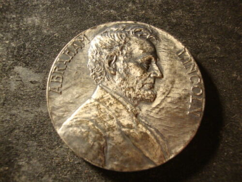 1909 Whitehead Hoag Abraham Lincoln Medal Silver on Bronze Newark 54 mm DTZ