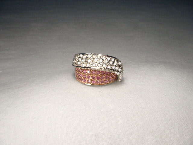 Magnificent Estate 18k White Gold Pink Sapphire Pave Diamond Swirl Band Ring