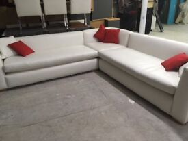 LARGE WHITE LEATHER SOFA FOR SALE - FAB CONDITION
