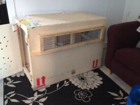 Large solid wooden dog crate