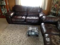 2 Brown Leather Settees