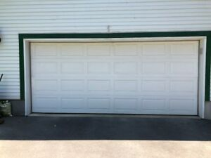White double car garage door, 7x16 feet, COMES WITH ALL HARDWARE
