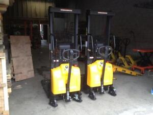 New Semi Electric Hydraulic Stacker, fork lift truck  2000lbs