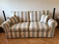 John Lewis 3 seater Sofa + 2 Armchairs, excellent condition, classic stripes - owned from new