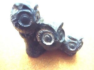 NUVUK Inuit Soapstone Owl Carving (3 Owls on a Perch)
