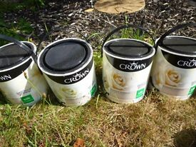 4 x 2.5L tins of Crown Silk Emulsion Paint - Toasted Almond