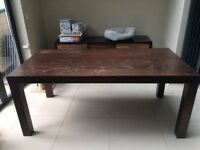 Large Solid Wood Dining Table with Benches