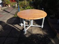 Solid pine drop leaf dining table