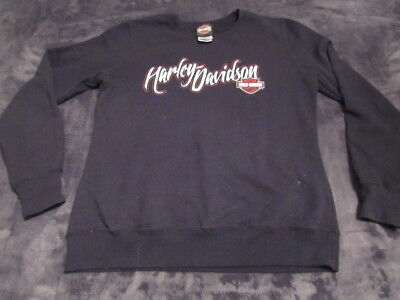 Harley Davidson 50/50 COTTON POLY Women FLEECE Sweater BLACK SIZE (50 Cotton Poly Fleece)