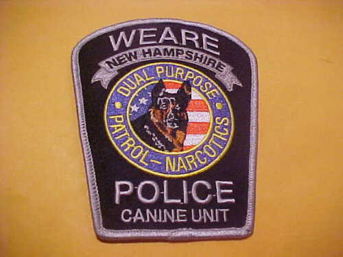 WEARE NEW HAMPSHIRE K-9 POLICE PATCH SHOULDER SIZE UNUSED