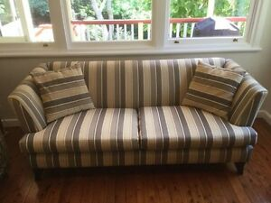 Immaculate cream and black striped two and a half-seater lounge Gladesville Ryde Area Preview