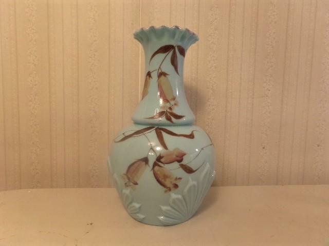 Vintage Light Blue Milk Glass Vase ~ Hand Painted Gay Fad Flowers Beautiful