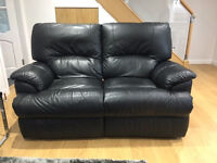 x2 Black Leather 2 Seater Recliner Sofas £250 - Excellent condition