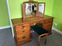 Antique Pine Dressing Table, stool and mirror