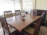 Lovely Dining Table/Chairs - Solid Railway Sleeper (teak)