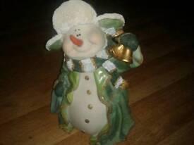 New snowman with lantern Xmas statue