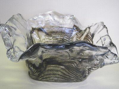 Grosse Schale ICE  70er Jahre DESIGN Glasschale extrem massiv Eisglas u. Erdfabe