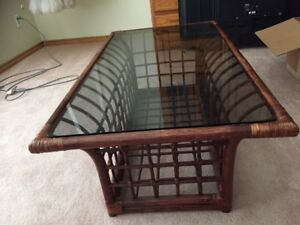 WICKER WITH GLASS TOP COFFEE TABLE
