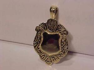 #907-ANTIQUE WATCH FOB/PENDANT 10K Yellow Gold Reverseable CLEAN ready FOR INSCRIPTION-LARGE Detailed