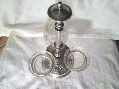 Serviteur metal argente vinaigrier avec sel poivre verre