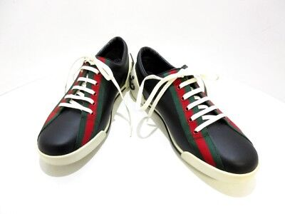 Auth GUCCI Shelly Black Multi Leather Chemical Fiber Sneakers Men