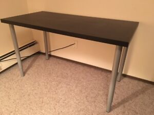 CUTE & SIMPLE IKEA DESK - BLACK/BROWN TABLE TOP WITH SILVER LEGS