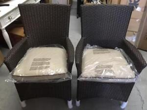 Lioni Tropea 2/WL-6362S-W/BE Patio Dining Arm Chair - Set of 2 (New other)