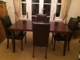 Solid Wood Dining Table and 4 Leather Chairs