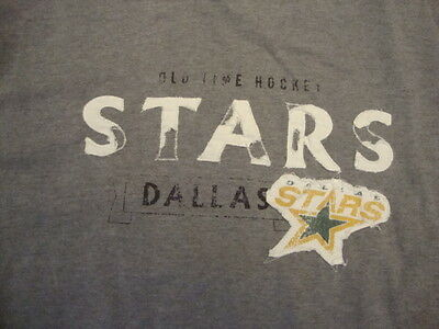 NHL Dallas Stars Sewn Old Time Hockey faded classic look Gray T Shirt -
