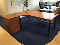 L Shape Ergonomic Office Desk With Desk High Pedestal (2 available)