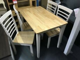 NATURAL/WHITE RUBBER WOOD DINING TABLE+4 CHAIRS SET