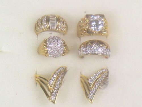 6 .. CZ  MENS RINGS  VINTAGE WITH SIMULANTED DIAMOMD SWAROVSKI CZ