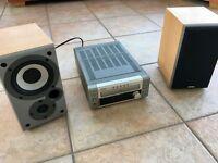 Denon UDM3 CD player/radio/aux and speakers plus remote.