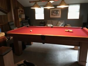 Pool table with rack,cues light
