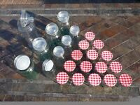 15 Empty Glass Jam Jars, 4 Medium and Large Empty Glass Jars and a Xtra Large Plastic Jar/Container