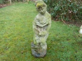 LADY HOLDING DOVE GARDEN STATUE