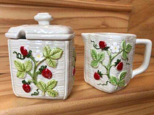 Vtg Otagiri Strawberry Creamer & Sugar Bowl Farmhouse Kitchen Decor Japan 1982