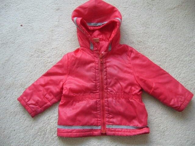 baby's red padded coat / anorak with hood age 12 - 18 months - southbourne