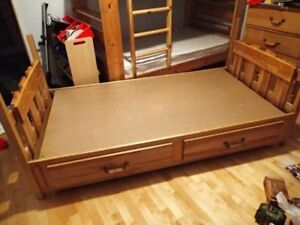 Twin solid wood captains bed with 2 large drawers & night stand