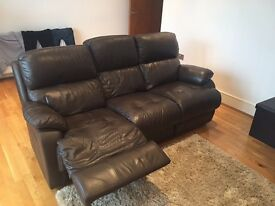 3 Seater & 2 Seater Brown Leather Sofa with Recline on 3 Seater