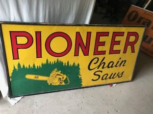Pioneer Chain Saw Large Dealer Sign ( 1955)